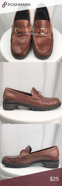 "Cole Haan Brown Leather Loafers Gently used Cole Haan Brown Leather Loafers with buckle details and top stitching. Very well made. Size 8B. Made in Brazil. Heel height is 1 1/4"". Cole Haan Shoes Flats & Loafers"