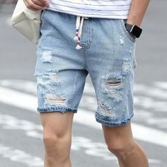 Mens Denim Shorts Slim Regular Casual Knee Length Short Hole Jeans Shorts For Men 2017 New Summer White Blue