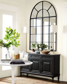 Entryway with black console table, white pedestal table, and neutral accents What's Decoration? Decoration is the art of decorating the … Entryway Console Table, Entryway Decor, Console Tables, Console Table With Mirror, Foyer Table Decor, Console Table Styling, Hall Tables, Entryway Organization, Entry Foyer