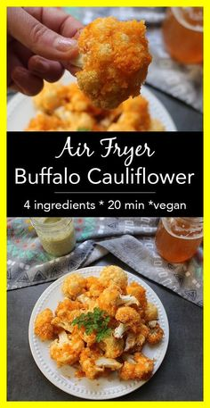 Air Fryer Buffalo Cauliflower: Easy Cauliflower Wings - Glue & Glitter This version of crunchy Air Fryer Buffalo Cauliflower is light on batter and simple to make. Dip it in vegan ranch or your favorite creamy vegan dressing. Air Frier Recipes, Air Fryer Oven Recipes, Air Fryer Recipes Appetizers, Air Fryer Recipes Vegetables, Vegan Appetizers, Air Fryer Recipes Chicken Wings, Air Fryer Dinner Recipes, Vegan Desserts, Vegetarian Recipes