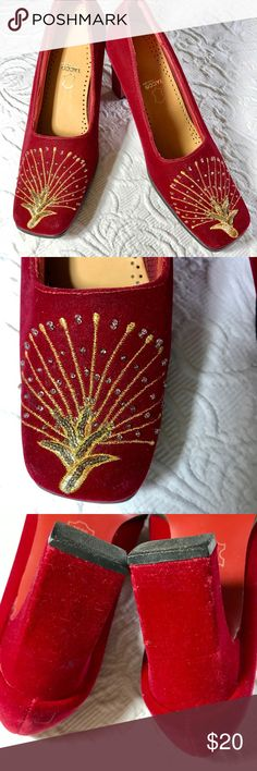 "Golden Peacock Red Velvet Heels So fun! Red velvet heels with golden embroidery and beading that looks like a peacock. 3"" heels. Tagged as a size 8 but fit a 7-7.5 best. Great with jeans!!🎉✨💫These are vintage and in good condition. There are a few subtle marks in the Velvet near the heel but not noticeable and priced to reflect this. Final sale. Please ask any questions. Vintage Shoes"