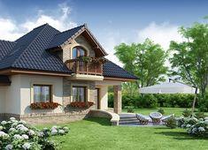 Projekt domu Damokles 140,59 m² - koszt budowy - EXTRADOM House Balcony Design, Duplex House Design, Dream Home Design, Modern House Design, Small Country Homes, Dream House Exterior, Design Case, Home Fashion, Exterior Design