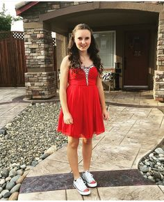 Dress from Macy's and silver converse from journeys with red crystals.. Follow more on Instagram@firewifemay Silver Converse, Bling Converse, Converse Style, Formal Wear, To My Daughter, Crystals, Red, How To Wear, Instagram