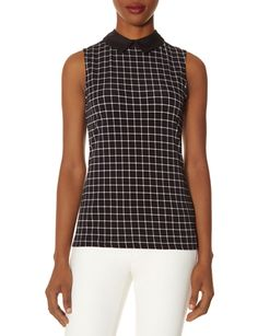 Black Multicolor Collar Grid Print Sleeveless Top @ The Limited $20