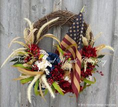 Grand American Glory and Honor Wreath with Tea Stained Flag  ~A New England Wreath Company Designer Original~