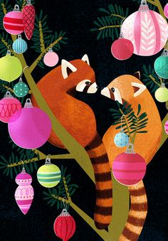 Red Panda Christmas Holiday ornament Card. illustration