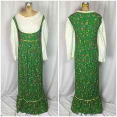 Vintage Country Green Floral Boho Prairie Dirndl Maxi Dress | eBay