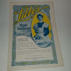 Antique Advertising ladies magazine ad from 1903 paper supplies Full page Libby's foods altered art scrap projects
