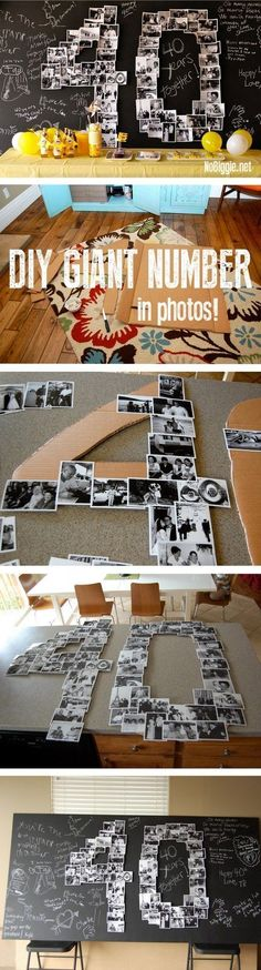 DIY Giant Number Photo Collage via Kami / NoBiggie diy birthday DIY Giant Number Photo Collage via Kami / NoBiggie Diy Birthday Table, 40th Birthday, Birthday Decorations, Valentine Decorations, Free Birthday, Birthday Ideas, Table Decorations, 40th Wedding Anniversary, Anniversary Parties