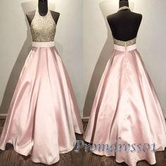 Classy Prom Dresses, pink prom dresses,halter prom dress open back,beaded ball gowns,formal evening gown dresses Prom Dresses Long Cheap Party Dresses, Prom Dresses For Teens, Long Prom Gowns, Backless Prom Dresses, A Line Prom Dresses, Ball Dresses, Formal Dresses, Ball Gowns, Dress Prom