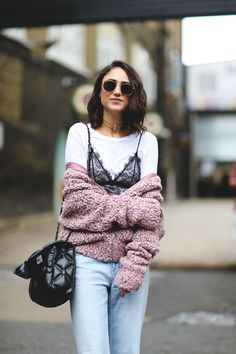 Wearing a slip dress out of the house can be a harrowing experience. Here's the easiest styling trick to making sure your straps stay in place. Street Style Trends, Street Style Looks, Fashion And Beauty Tips, Fashion Advice, Layered Fashion, Dress Out, Autumn Winter Fashion, Winter Style, Slip Dresses
