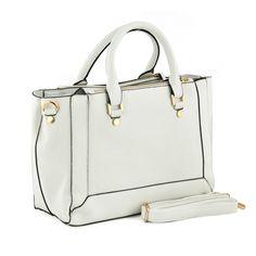White Rectangular Shopper Style Handbag