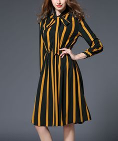 Gold & Black Stripe A-Line Dress