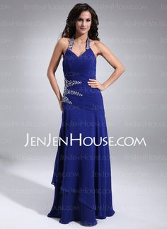 Mother of the Bride Dresses - $135.99 - A-Line/Princess Halter Floor-Length Chiffon Mother of the Bride Dresses With Ruffle Beading (017021290) http://jenjenhouse.com/A-line-Princess-Halter-Floor-length-Chiffon-Mother-Of-The-Bride-Dresses-With-Ruffle-Beading-017021290-g21290
