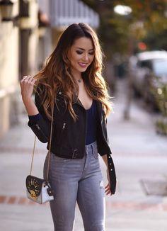 Lulus blue velvet bodysuit + grey jeans + black moto jacket   Hapa Time