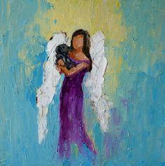 Angel with Dog Commission 8 x 8 inches, oil on board www.Judymackey.com