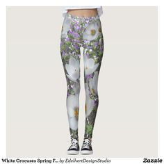 White Crocuses Spring Flowers Leggings