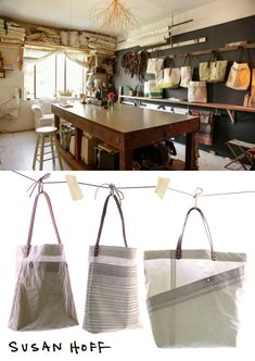 In addition to the reclaimed sail cloth and horse reins, Susan uses vintage kimono fabric in her creations; learn more about the production process here.