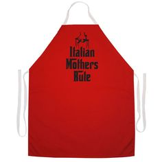 Attitude Aprons 'Italian Mothers Rule' Kitchen Apron-Red (2413), Red