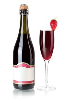 Wine collection - Strawberry champagne bottle with blank label a