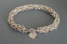 Ecofriendly Chunky Sterling Silver Heart Bracelet by Linkouture