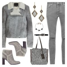 """""""Chanel Grey Shearling Ankle Boots"""" by deborah-calton ❤ liked on Polyvore featuring McQ by Alexander McQueen, Chanel and White Stuff"""