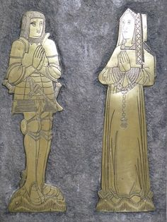 Somerset, Cossington, St Mary. John Brent (+1524) and wife Maud. Reproduction of original brass.