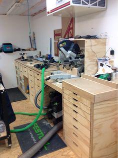 Plan Garage, Garage Tools, Garage Storage, Bench Storage, Garage Workbench, Storage Ideas, Festool Systainer, Basement Workshop, Home Workshop