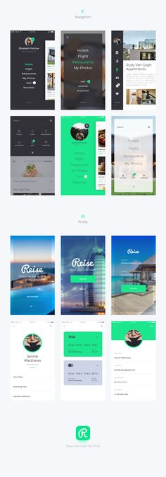 Reise iOS UI KIt is high quality pack of 36 screens to kickstart your travel projects and speed up your design workflow.Reise includes 36 high quality iOS screen templates designed in Sketch, 6 categories (Hotel Booking, Flight Booking, Restaurants, My P… Web Design, App Ui Design, Mobile App Design, Mobile Ui, Interface Design, Hotel Booking App, Conception D'applications, Android App Design, Mobile Application Design