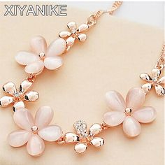 2015 New Korean Exquisite Luxury Elegant Women Wedding Opal Flowers Crystal Pendant  Necklace XY-N439