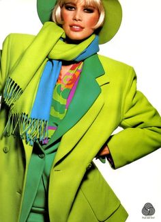 Escada, 1991  Model: Claudia Schiffer-just don't like this shade of green, but i guess it's a matter of personal taste...