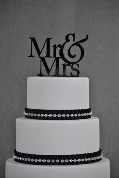 Very classy Wedding Cake Topper  Mr and Mrs Cake Topper by by ChicagoFactory