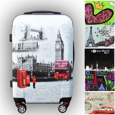 Travel Luggage Vintage Style Printing 4 Spinner Wheel Hard Shell Suitcase #Focheir