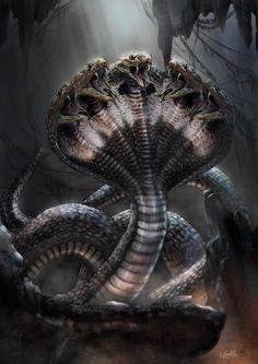 Shesha~ (The Five Headed Serpent) , Shaatish Rajendran Reminds me of the multi-headed Cobras on my back. ( ͡° ͜ʖ ͡°) Snake Monster, Monster Art, Snake Art, Snake Drawing, Shiva Art, Hindu Art, Dark Fantasy Art, Fantasy Artwork, Snake Wallpaper