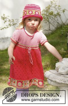 """Ravelry: Sweet Berry Dress - Knitted dress with short sleeves and crochet squares at the bottom in """"Safran"""" pattern by DROPS design Knitting For Kids, Crochet For Kids, Baby Knitting, Knit Crochet, Crochet Granny, Free Knitting, Crochet Pattern, Free Pattern, Knitted Baby Clothes"""