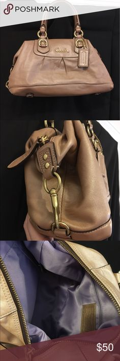 Coach Ashley bronze leather satchel Cute Coach Ashley bronze leather satchel, missing crossbody strap but it's a bit big to use as a crossbody in my opinion anyway. Great condition and gently used. Coach Bags Satchels