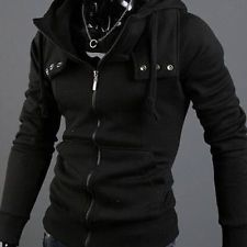 HOT Men's Fashion Slim Fit Long Sleeve Casual Hooded Hoodies Coat Jacket Black http://ift.tt/1M28XjX