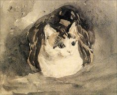 The Cat, 1905-1908-Gwen John. I have this on a postcard I bought at The Tate. This was her own cat.