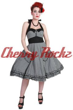 BLACK WHITE GINGHAM 50s ROCKABILLY DRESS BY HELL BUNNY