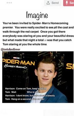 Calling dibs on a girl is quite sexist. But its still a Tom Holland imagine soooo, we'll look past that because we know he wouldn't actually do that Funny Marvel Memes, Marvel Jokes, Dc Memes, Funny Memes, Bucky, Avengers Imagines, Avengers Quotes, Tom Holland Imagines, Tom Holland Peter Parker