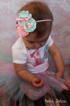 The Emma Headband- Pink, Aqua, 1st birthday, roses, flowers, satin, newborn, baby, infant, girl, child, toddler photo prop via Etsy