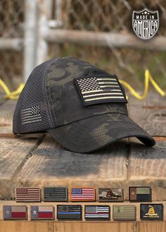 bc1b6cddbdbd9 DARK AMERICAN MADE MESH BACK HAT WITH PATCH  36.99 Available with different  patches Nine Line Apparel