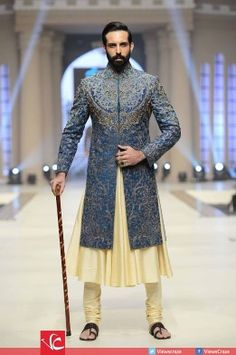 Pakistan's most anticipated bridal show, Telenor Bridal Couture Week (TBCW) began with glitz and glamour here at the Faletti's Hotel, Lahore. Indian Groom Dress, Wedding Dresses Men Indian, Wedding Dress Men, Wedding Suits, Indian Suits, Indian Weddings, Wedding Couples, Indian Men Fashion, Mens Fashion Suits