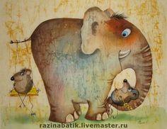 Колыбельная - слон,дружба,колыбельная,мышь,картина,Батик,кот,слоник,любовь