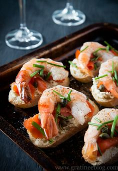 Prawn and Smoked Salmon Crostini with Boursin Cheese, Capers and Chives