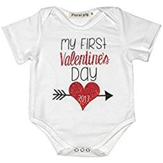 Newborn Baby Boys Girls First Valentine's Day Short Sleeve Bodysuits Rompers Outfits (6-12M, white)