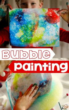 Bubble Painting Art :STEAM activity for kids. Dry ice experiment making bright, unique bubble prints the kids will adore!  A fantastic process art activity and science experiment for kids of all ages at home or in the classroom.