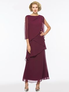 Chiffon Tiered Ankle-Length Mother of the Bride Dress online shopping mall, buying fashion dresses & rapid delivery. Start your amazing deals with big discounts! Mother Of Bride Outfits, Mother Of The Bride Gown, Mother Of Groom Dresses, Mothers Dresses, Mother Bride, Formal Dresses With Sleeves, Mob Dresses, Cute Dresses, Dresses Online