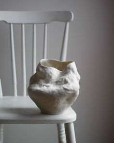This handmade porcelain vase was made using hand-built pottery technique with coils. Glazed on the inside only; Outside is tactile, has a paper-like feeling. Pottery Sculpture, Pottery Vase, Ceramic Pottery, Thrown Pottery, Slab Pottery, Ceramic Sculptures, Vases, Keramik Design, Hand Built Pottery