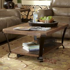 Kenwood Rectangular Cocktail Table w/ Casters by Flexsteel